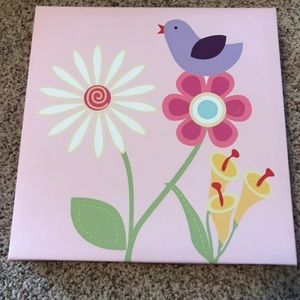 Canvas print with birds and flowers